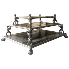 Maitland Smith Fantastic 3-Tier Bronze Coffee Table with Monkeys and Lion Feet