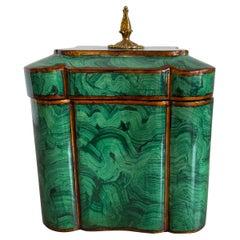 Maitland Smith Faux Malachite Lacquered Box