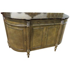 Maitland Smith Faux Painted Marble Top Sideboard Buffet Server with Silver Leaf