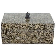 Maitland Smith Faux Shagreen Jewelry Trinket Box Tessilated Container