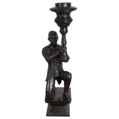 Maitland Smith Figural Bronze Candleholder Colonial Man with Torch Statue
