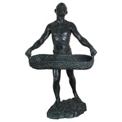 Maitland Smith Figural Bronze Dumbwaiter Sculpture African Man Tray Stand Statue