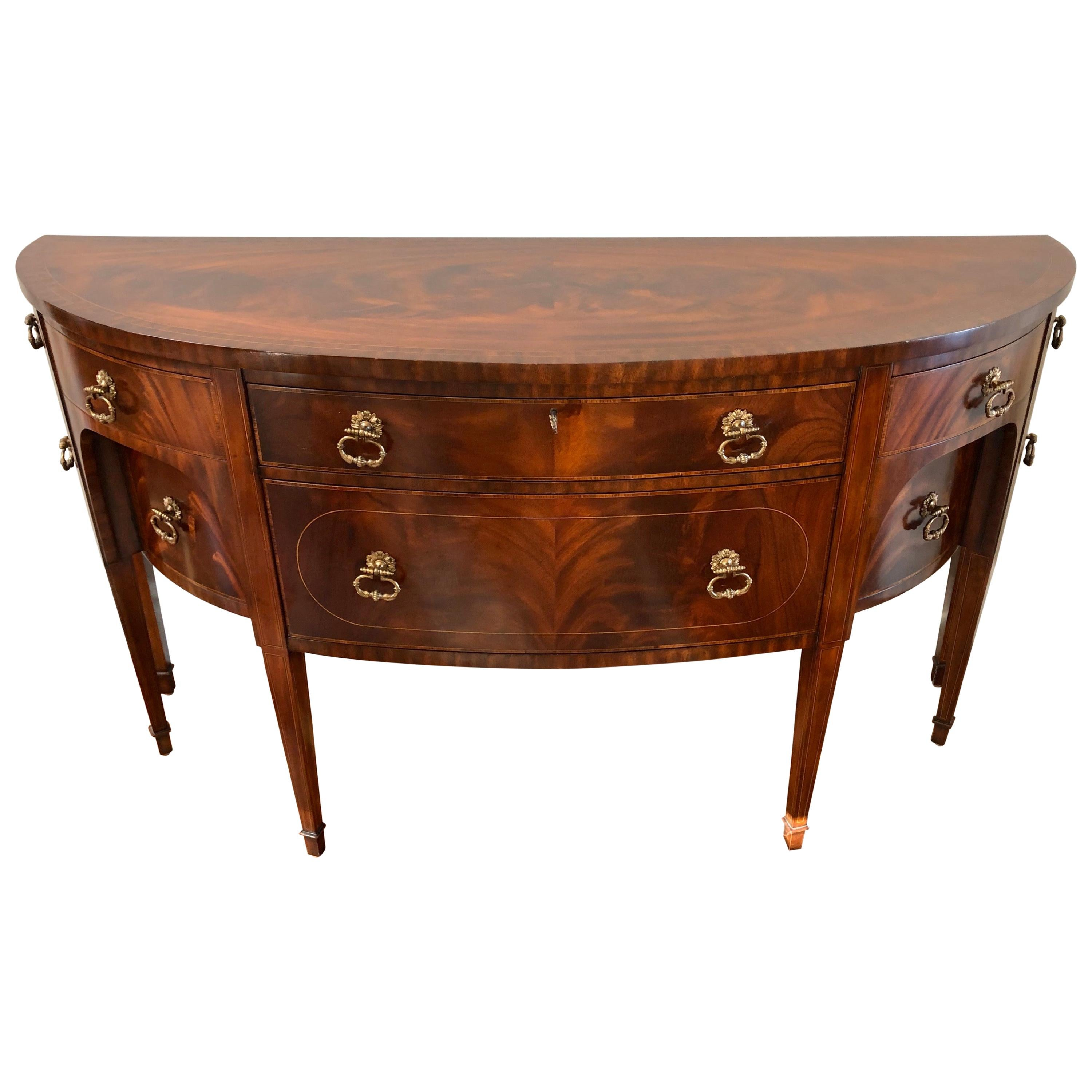 Maitland Smith Flame Mahogany Curved Front Sideboard Credenza Buffet Server
