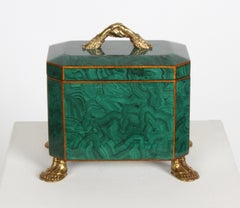 Maitland-Smith Fornasetti Style Faux Malachite Tole Box with Brass Hands & Feet