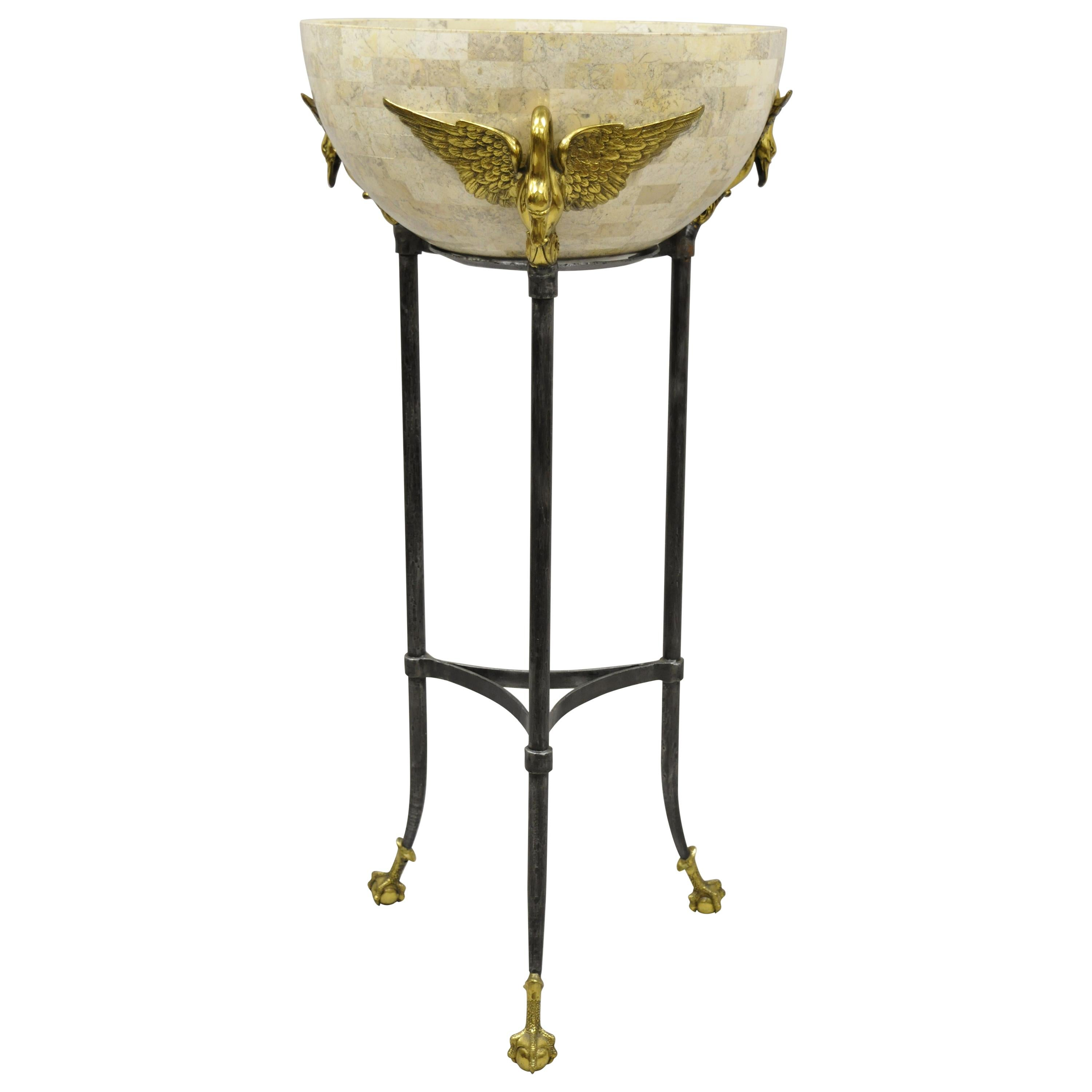 Maitland Smith French Empire Brass Swan Tessellated Marble Planter Jardinière