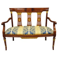 Maitland-Smith French Empire Regency Style Flame Mahogany Settee or Loveseat