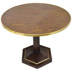 Maitland Smith French Empire Zebra Wood Bronze Band Round Pedestal Base Table