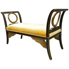 Maitland Smith Gold Wreath and Wings Carved Wood Regency Style Window Bench