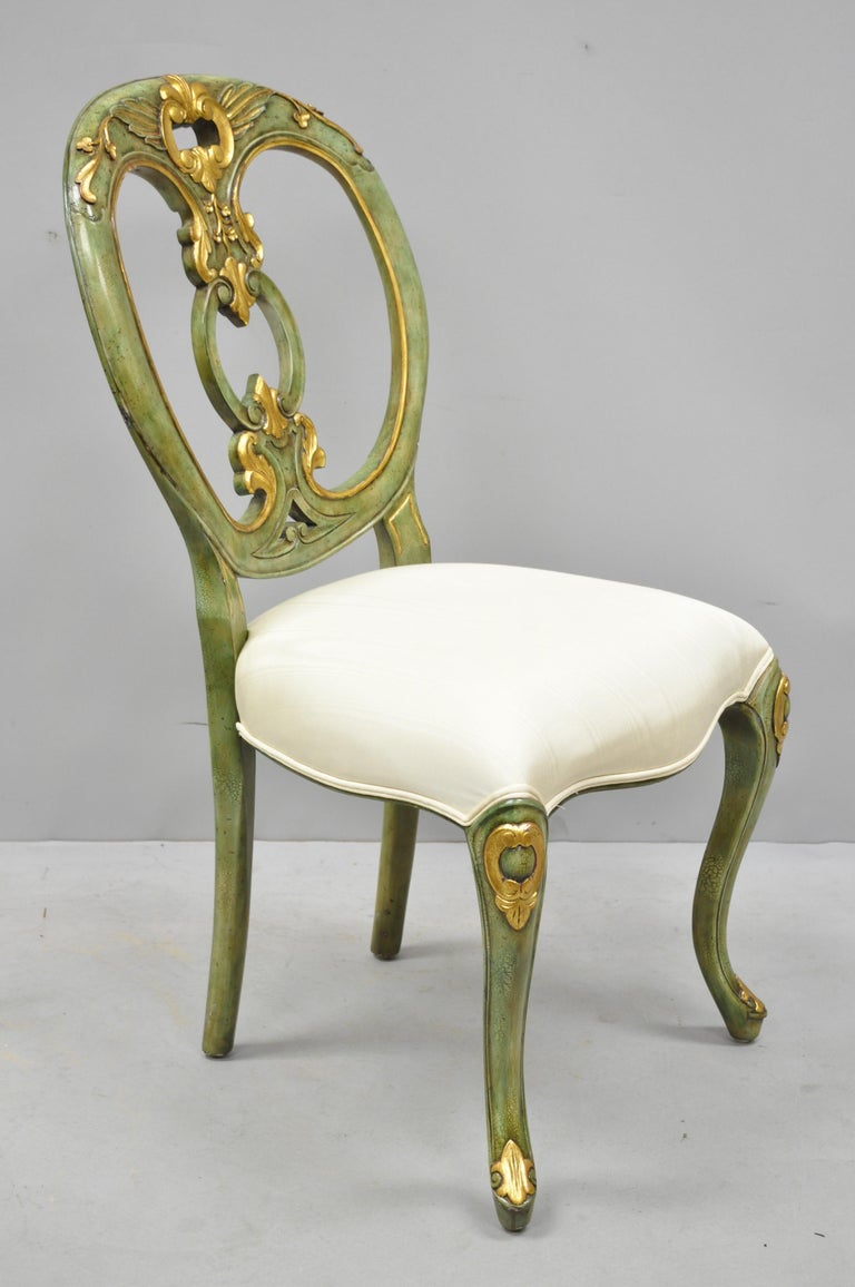 Tremendous Maitland Smith Green And Gold Painted French Rococo Victorian Style Accent Chair Evergreenethics Interior Chair Design Evergreenethicsorg