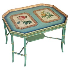 Maitland Smith Green Hand-Painted Bamboo Gilt Coffee Table