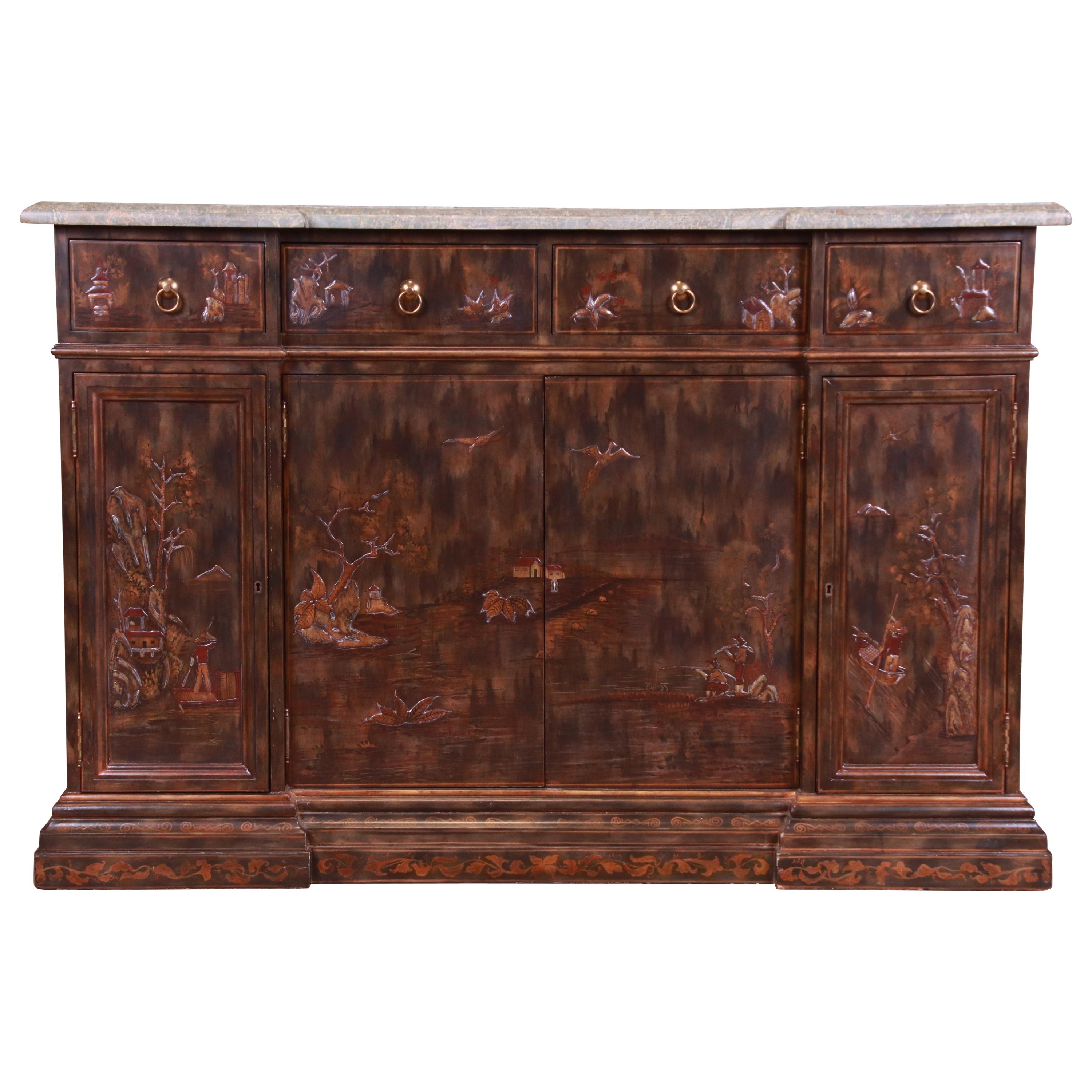 Maitland Smith Hollywood Regency Chinoiserie Marble-Top Sideboard or Bar Cabinet