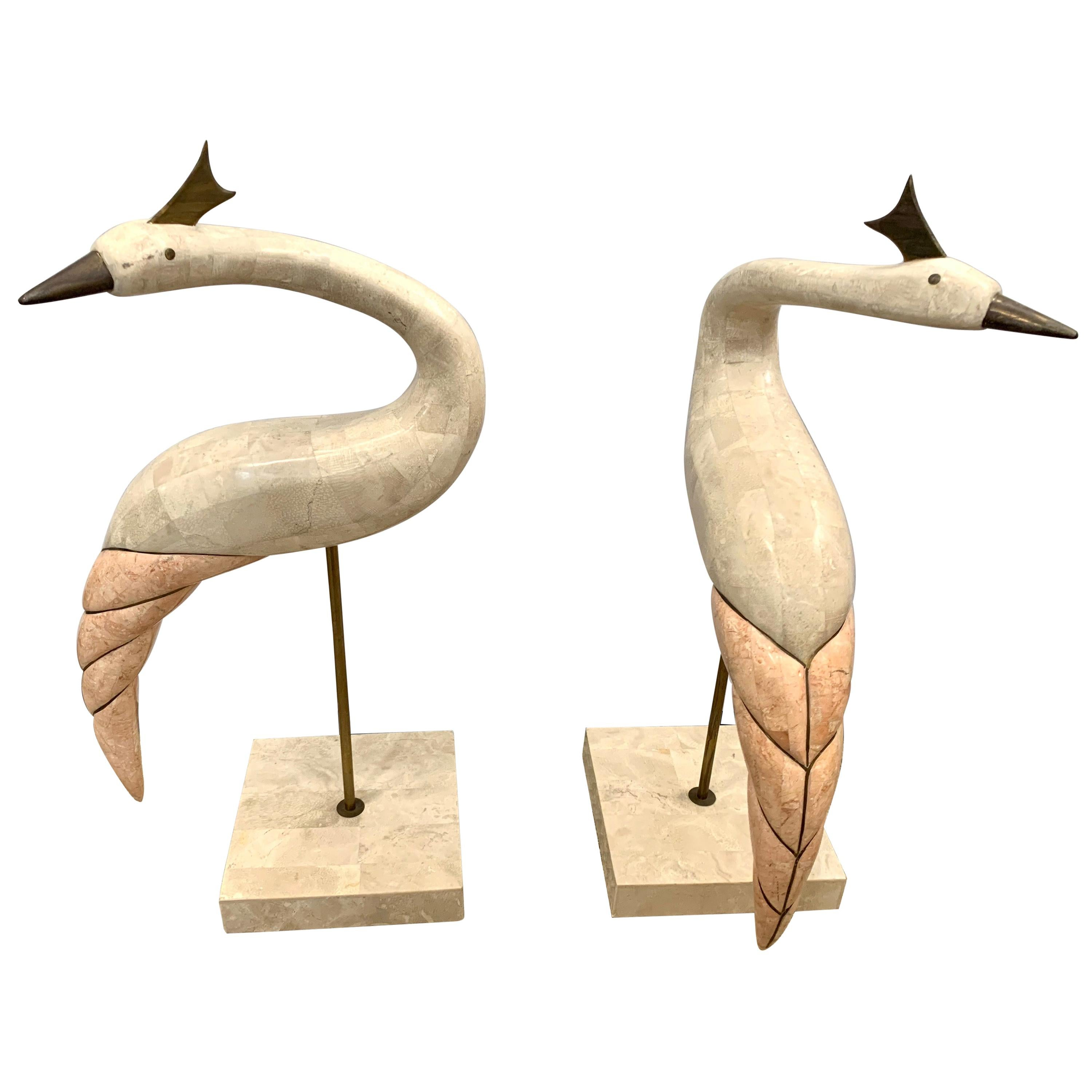 Maitland Smith Hollywood Regency Tessellated Stone and Brass Bird Sculptures