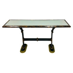 Maitland-Smith Horn and Cast Bronze Mirrored Console Table