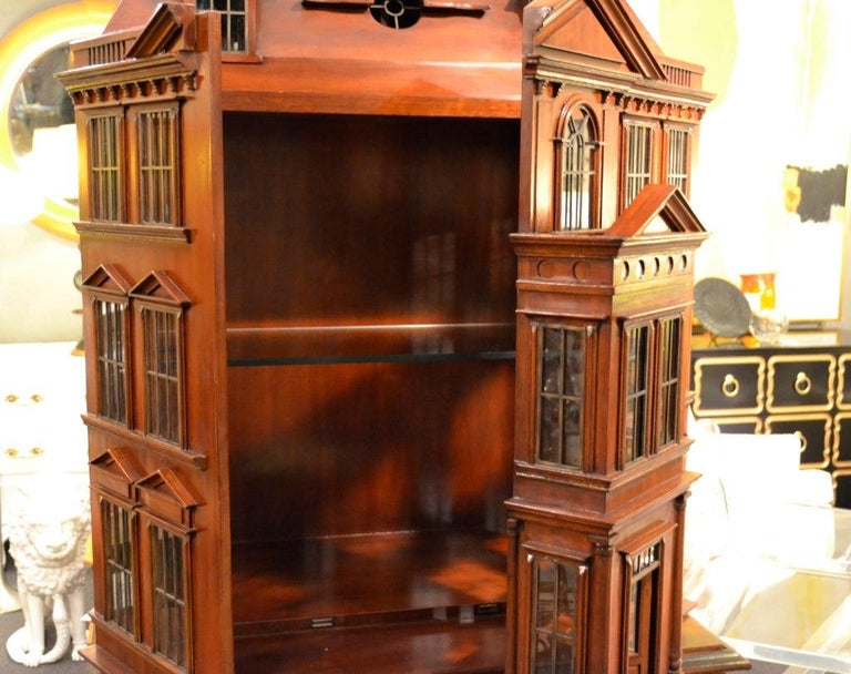 American Maitland Smith Iconic Postmodern Victorian Dollhouse Bar Cabinet Cupboard For Sale