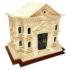Maitland Smith Large Tessellated Stone Colonial House Decorative Box