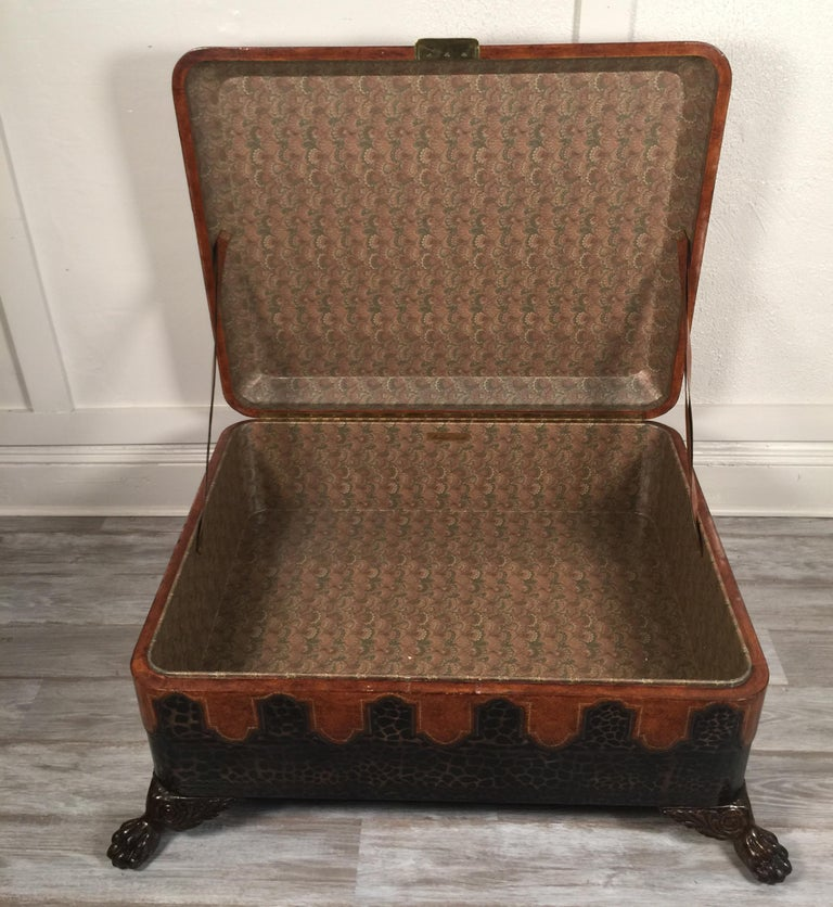 Maitland Smith Leather Coffee Table with Faux Leopard Design, Top Opens For Sale 6