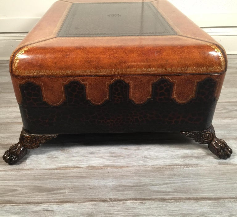 Maitland Smith Leather Coffee Table with Faux Leopard Design, Top Opens For Sale 9
