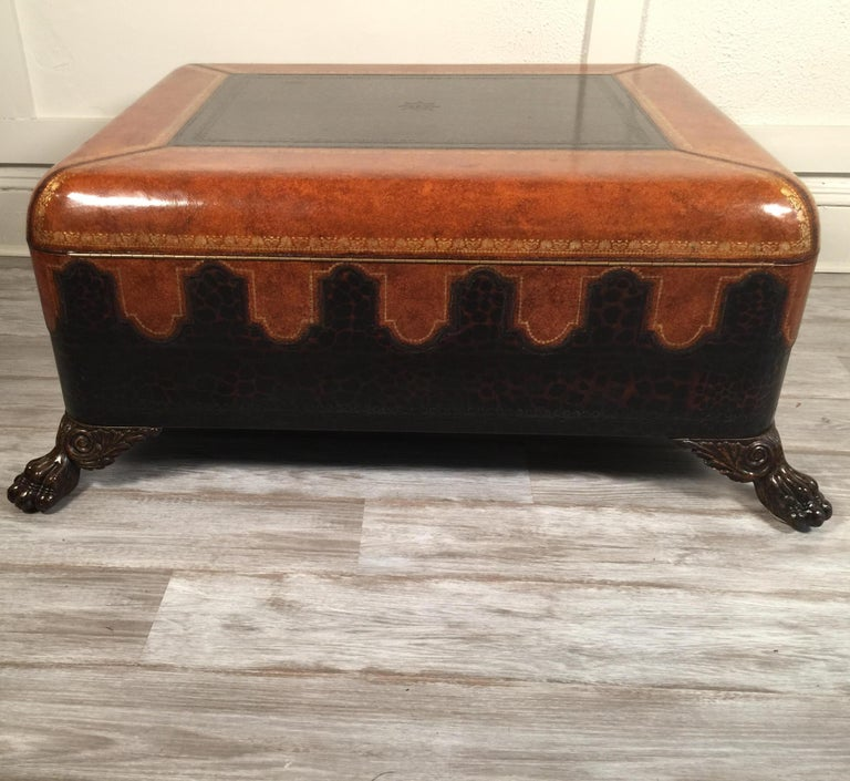 Maitland Smith Leather Coffee Table with Faux Leopard Design, Top Opens For Sale 11