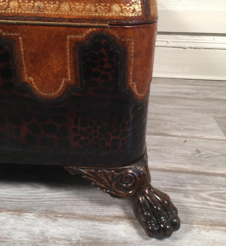 Maitland Smith Leather Coffee Table with Faux Leopard Design, Top Opens For Sale 12