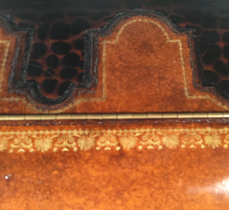 Maitland Smith Leather Coffee Table with Faux Leopard Design, Top Opens For Sale 13