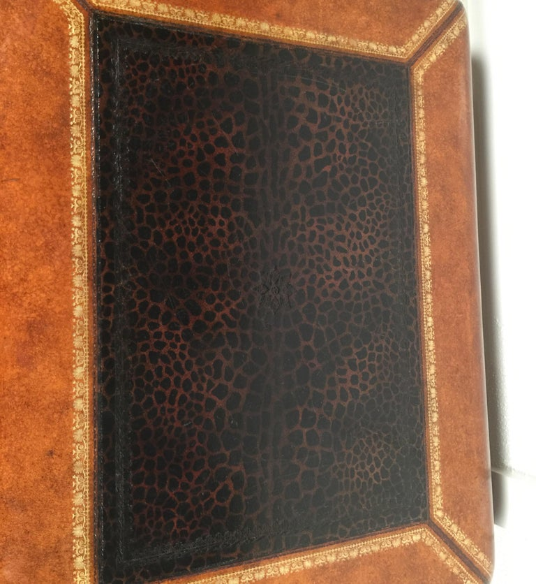 Maitland Smith Leather Coffee Table with Faux Leopard Design, Top Opens For Sale 14