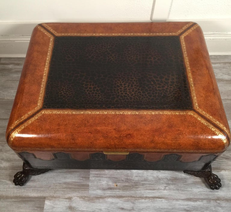 American Maitland Smith Leather Coffee Table with Faux Leopard Design, Top Opens For Sale