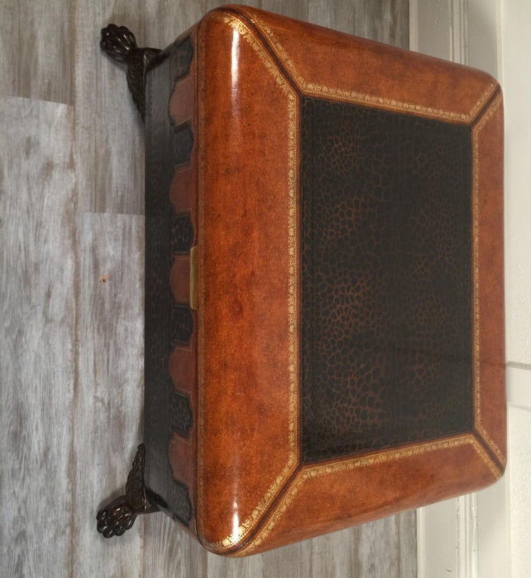 Maitland Smith Leather Coffee Table with Faux Leopard Design, Top Opens In Good Condition For Sale In Lambertville, NJ