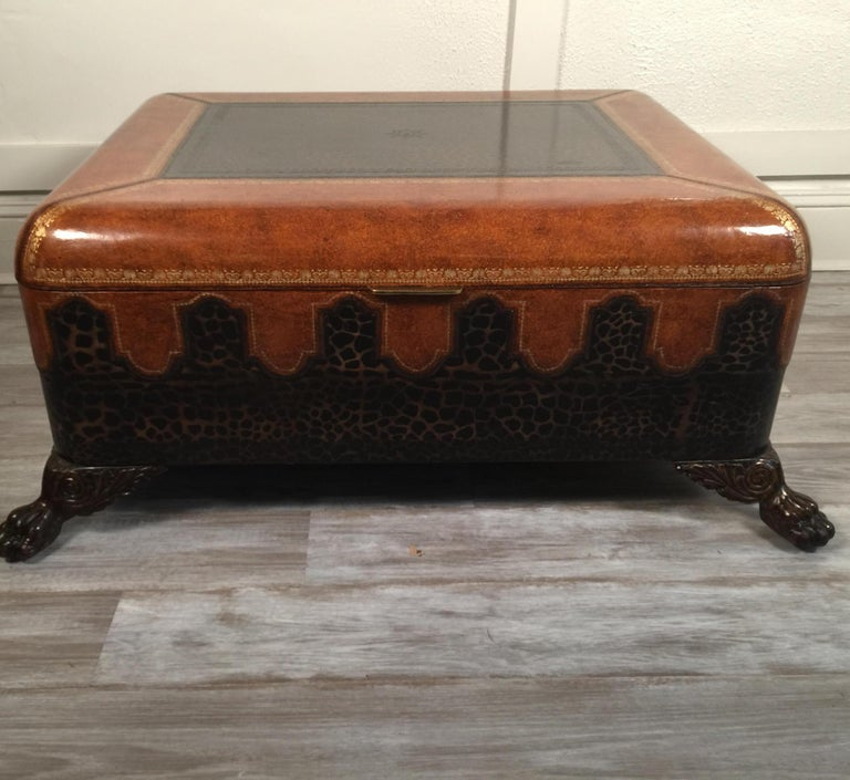 Late 20th Century Maitland Smith Leather Coffee Table with Faux Leopard Design, Top Opens For Sale