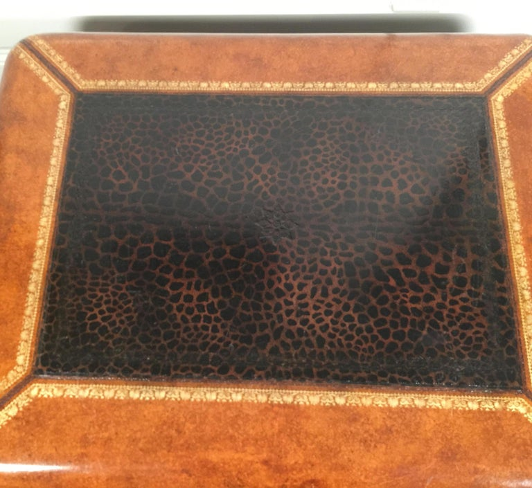 Maitland Smith Leather Coffee Table with Faux Leopard Design, Top Opens For Sale 1