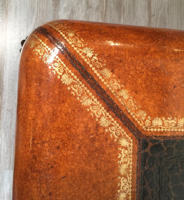 Maitland Smith Leather Coffee Table with Faux Leopard Design, Top Opens For Sale 2