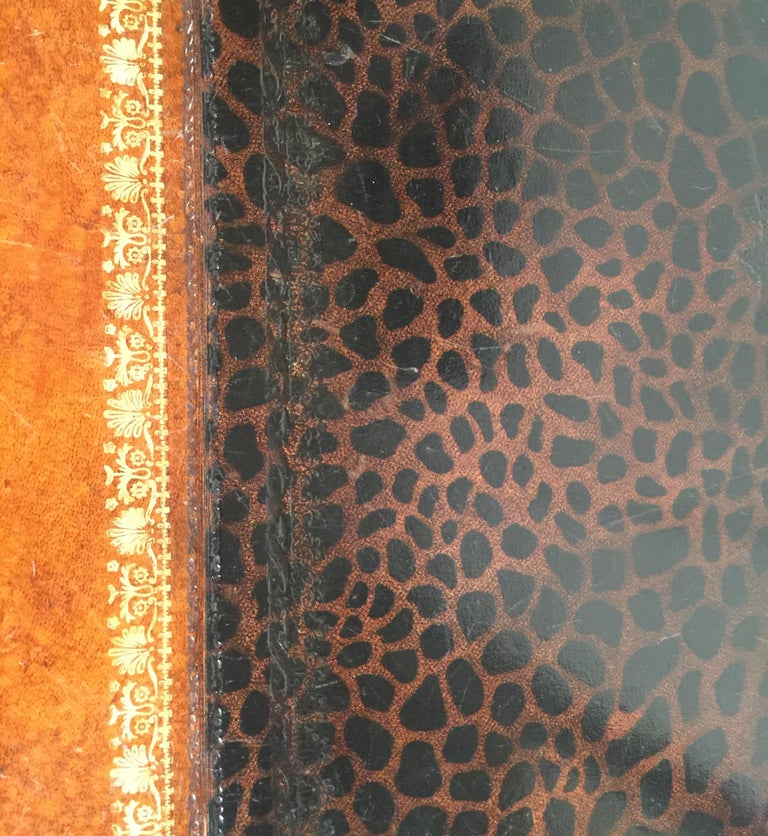 Maitland Smith Leather Coffee Table with Faux Leopard Design, Top Opens For Sale 3