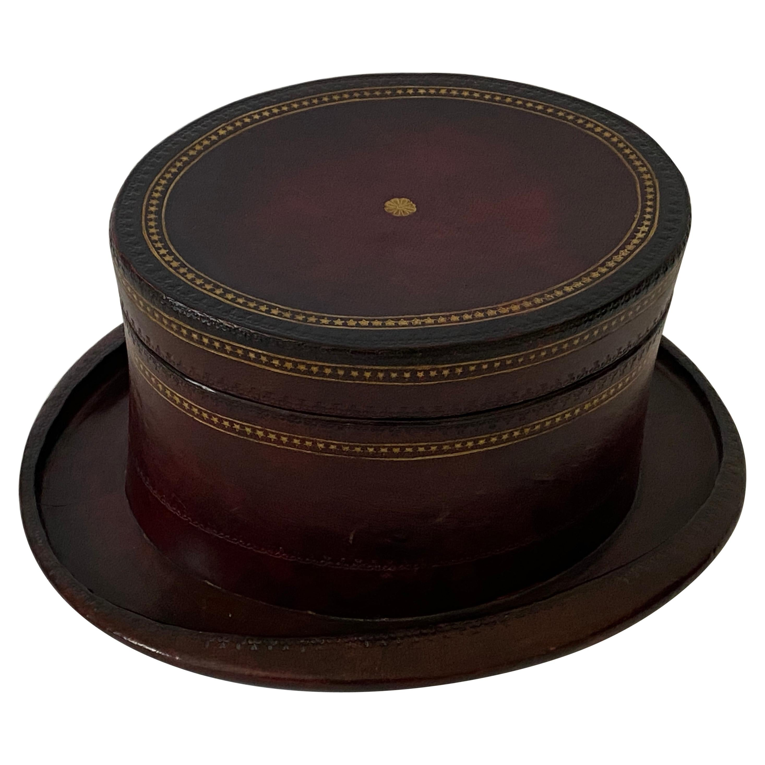 Maitland Smith Leather Covered Hat-Form Box