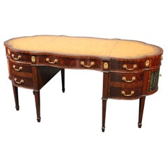 Maitland Smith Leather Top Executive Desk with Faux Books and Bookshelves Ends