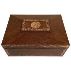 Maitland Smith Leather Wrapped Lidded Jewelry Box