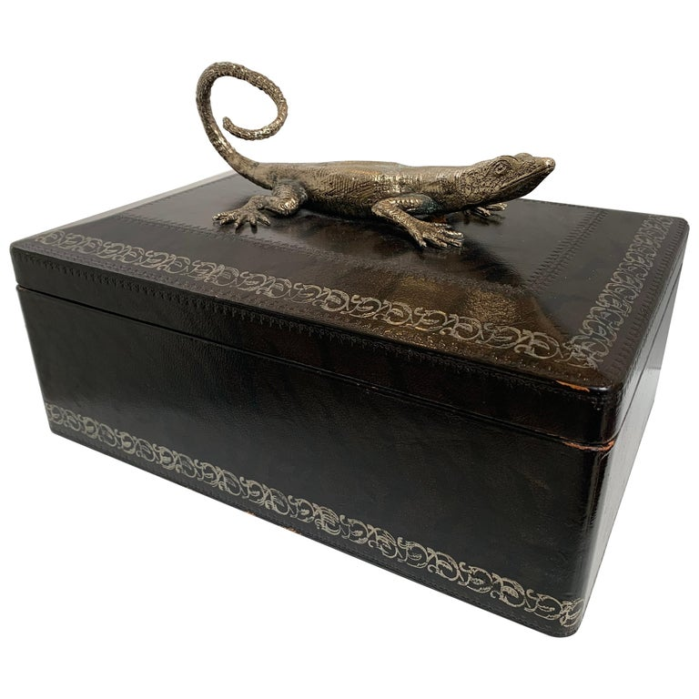 Maitland Smith Leather Box with Bronze Cast Lizard, circa 1980 For Sale