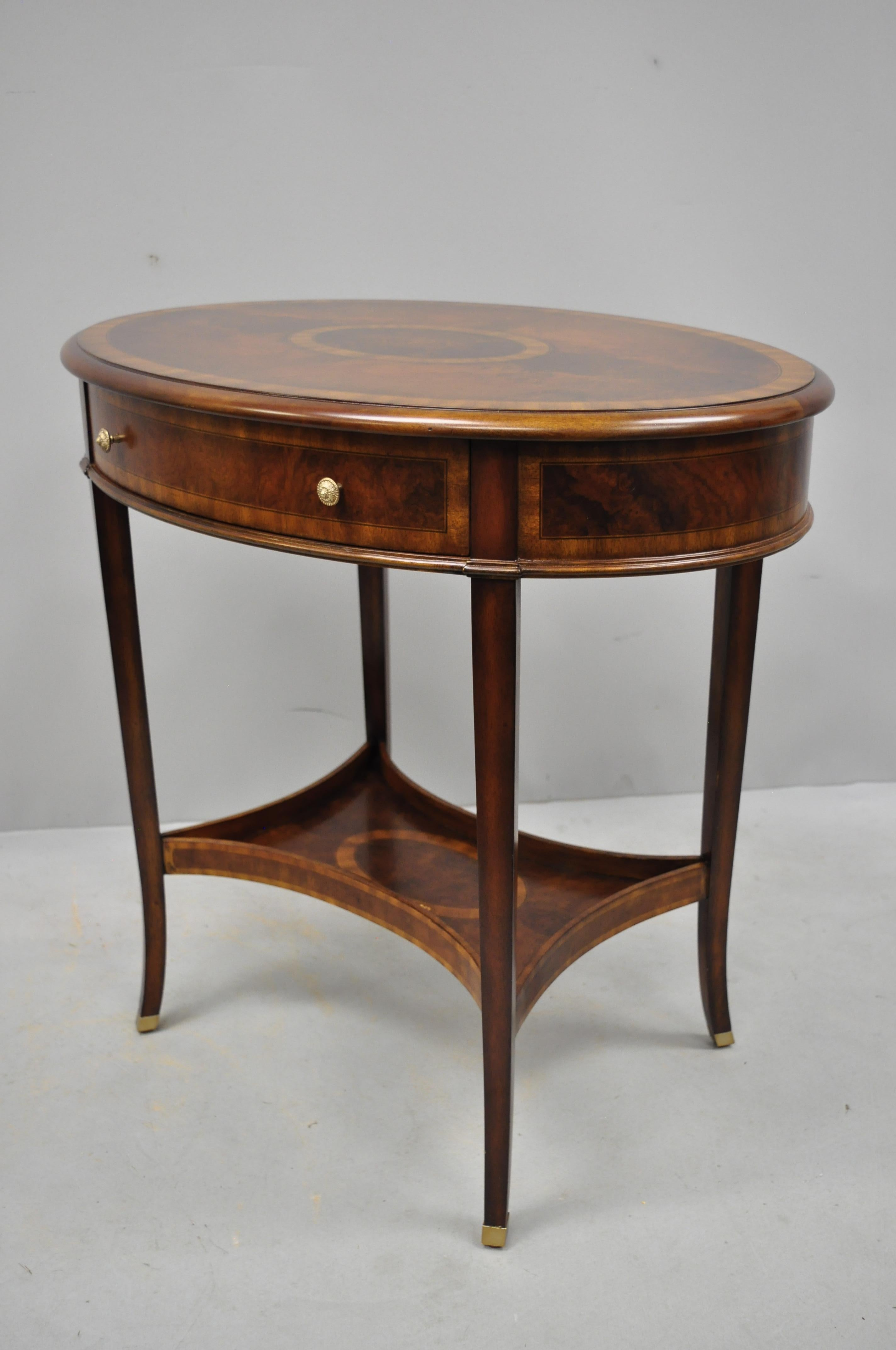 Maitland Smith Mahogany Oval Inlaid One Drawer Occasional Accent Side Table