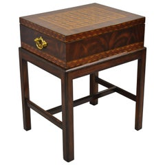 Maitland Smith Marquetry Inlay Campaign Style Trunk Chest Side Table on Base
