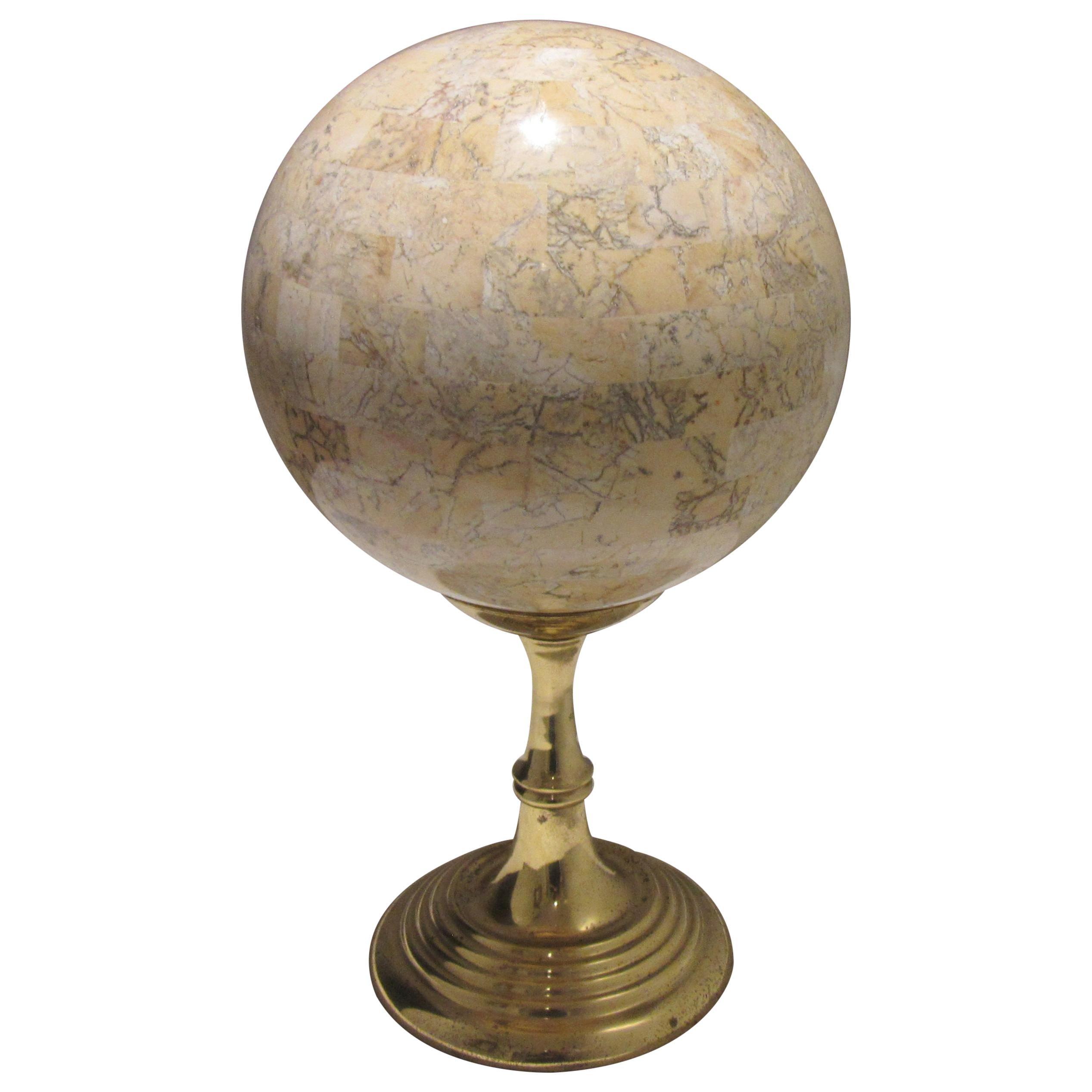 Maitland-Smith Mid-Century Modern Travertine Tessellated Sphere on Brass Stand