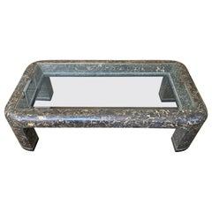 Maitland Smith Modern Brown Tessellated Marble and Glass Coffee Table