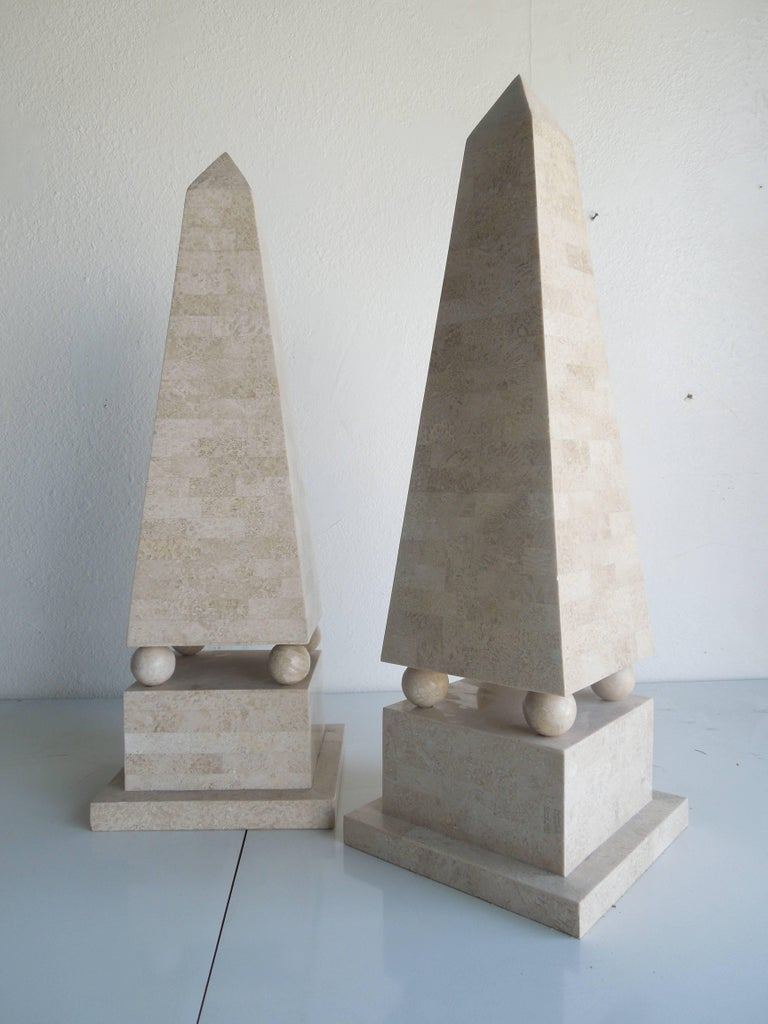 Polished Maitland Smith Modernist Tessellated Stone Obelisks, Pair For Sale