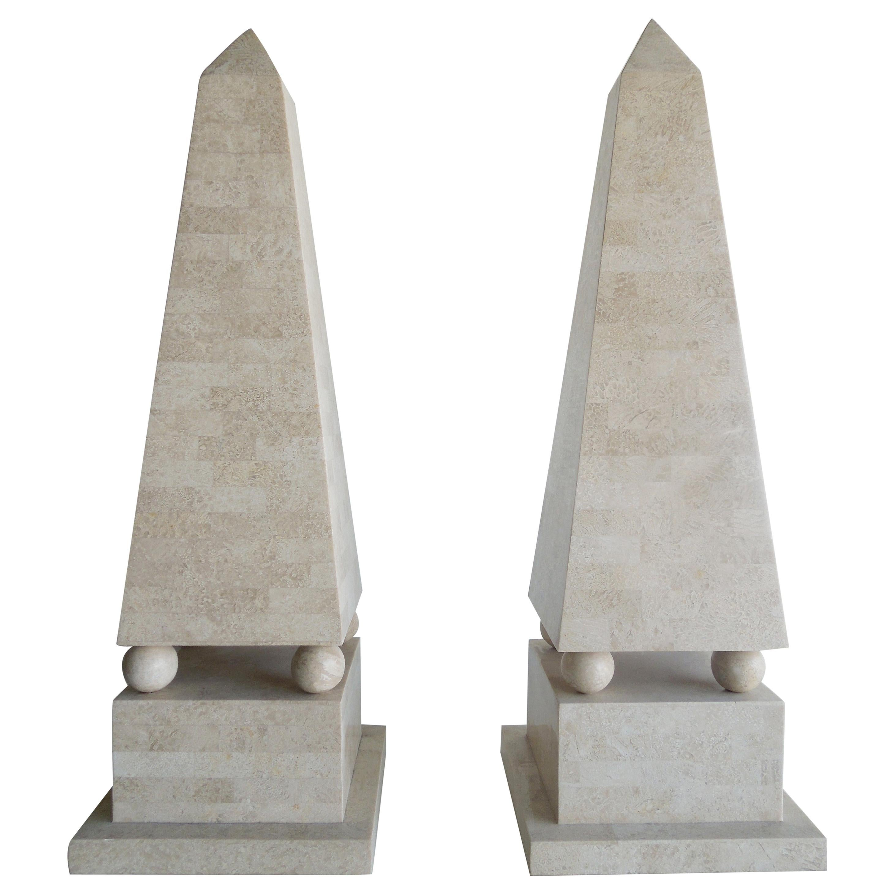 Maitland Smith Modernist Tessellated Stone Obelisks, Pair
