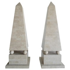 Maitland Smith Modernist Tessellated Stone Obelisks, Pair