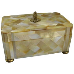 Maitland Smith Mother of Pearl and Brass Tessellated Decorative Wood Stash Box