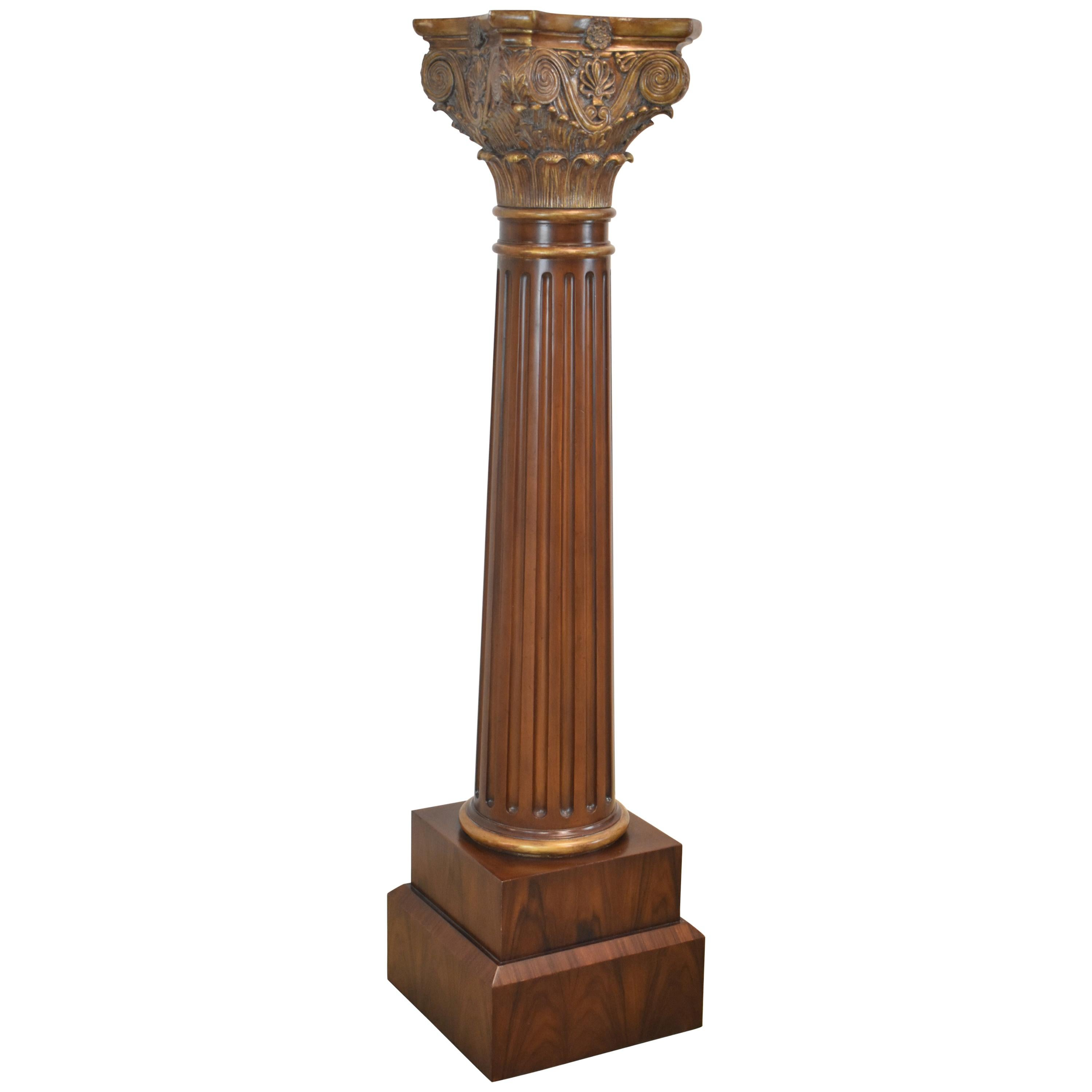 Maitland Smith Neoclassical Fluted Column / Pedestal / Plant Stand Carved Burle