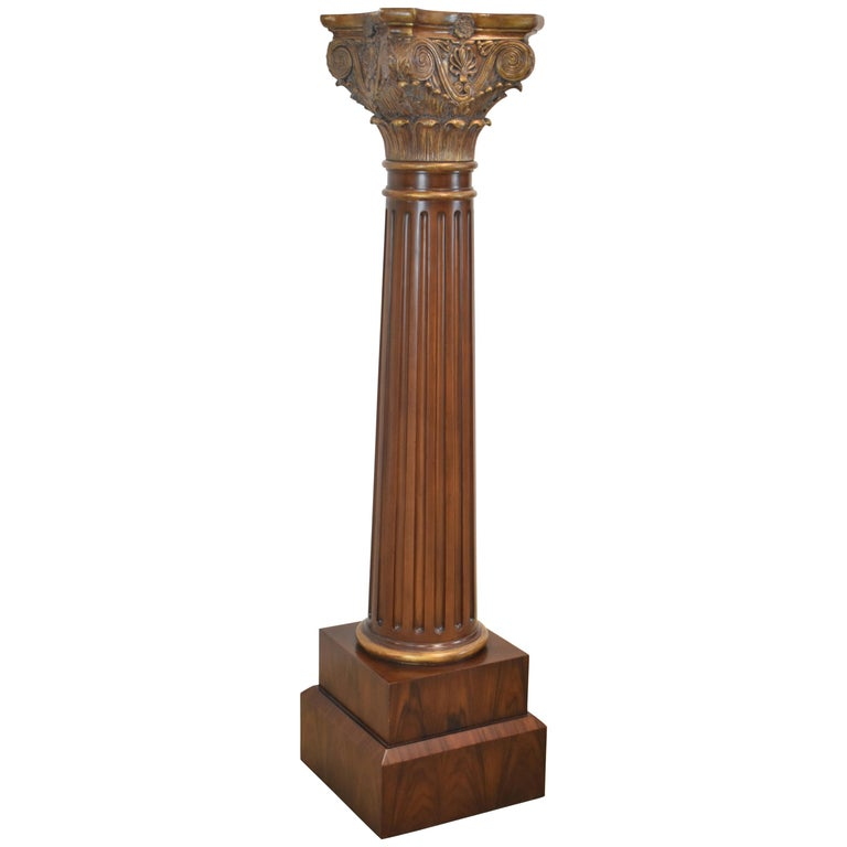 Maitland Smith Neoclical Fluted Column Pedestal Plant Stand Carved Burle For