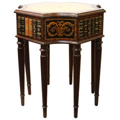 Maitland Smith Neoclassical Style Faux Book Table with Tooled Leather Top