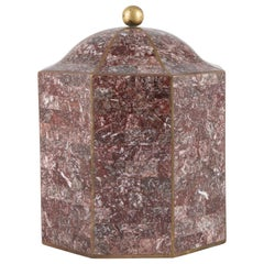 Maitland Smith Octagonal Marble Lidded Box with Brass Inlays, circa 1980s