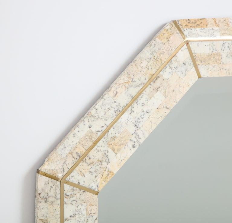 Modern Maitland Smith Octagonal Tessellated Stone and Inlaid Brass Mirror