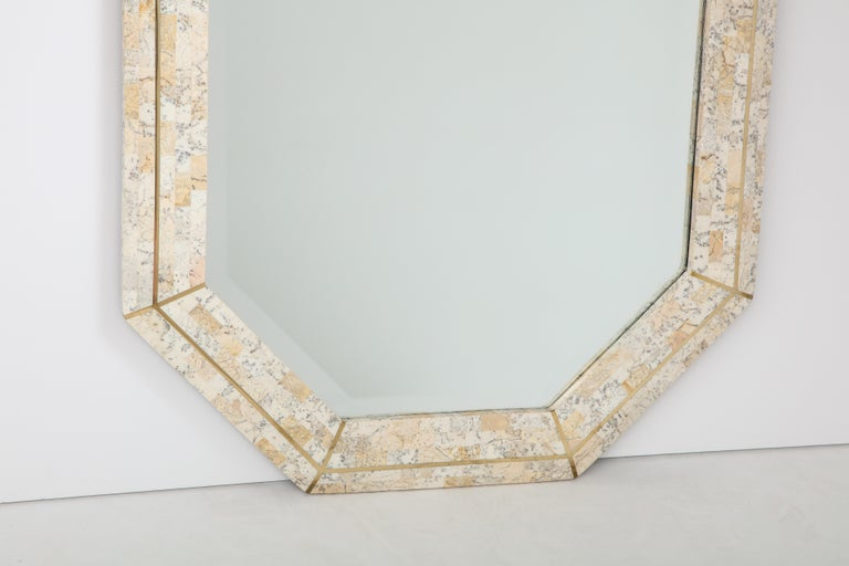 Maitland Smith Octagonal Tessellated Stone and Inlaid Brass Mirror  In Good Condition In New York, NY