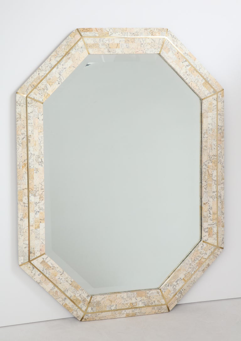 Late 20th Century Maitland Smith Octagonal Tessellated Stone and Inlaid Brass Mirror